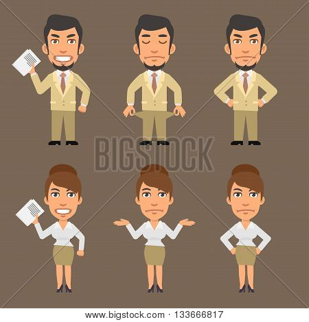Vector Illustration, Businessman and Businesswoman Upset, format EPS 8