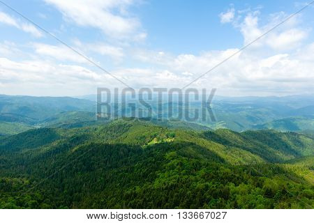 Mountain view in Romania, landscape background, clouds