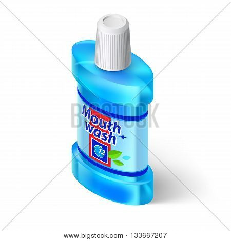 Isometric Bottle of Mouthwash. Illustration on White Background