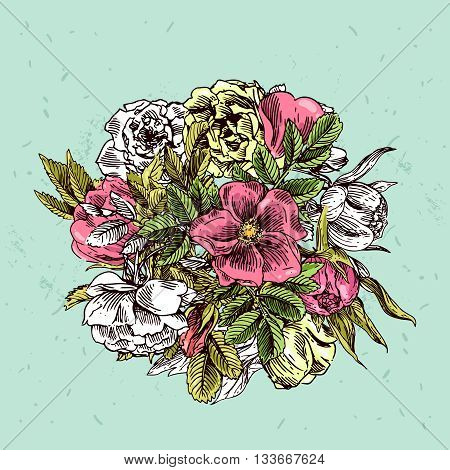 Beautiful hand drawn illustration boho flowers. Flowers for boho-style  wedding invitations. Decorative floral illustration with flowers of roses and jasmine.