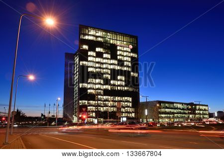 VILNIUS NOVEMBER 11: The Head Office of Swedbank on November 11 2015 in Vilnius Lithuania. Swedbank is the leading bank in Sweden Estonia Latvia and Lithuania.