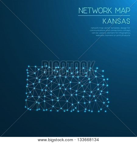 Kansas Network Map. Abstract Polygonal Us State Map Design. Internet Connections Vector Illustration