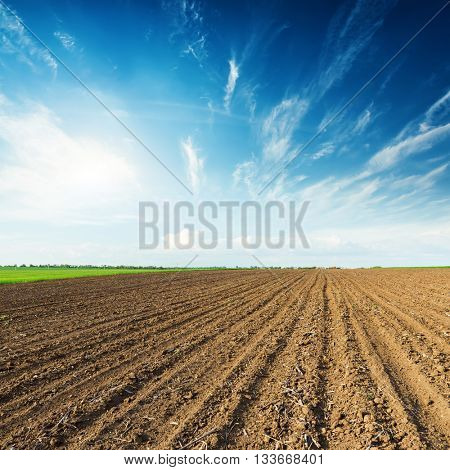 sunset in deep blue sky and black plowed field