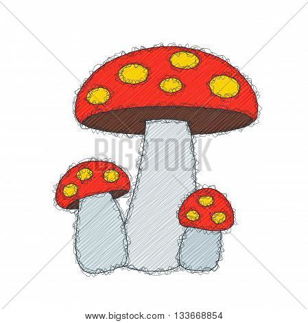The mushroom. Sketch doodle illustration. Imitation of the hand made doodle style. Vector.