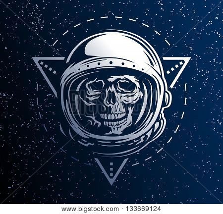 Lost in Space. A dead astronaut in a spacesuit on background of geometric elements.