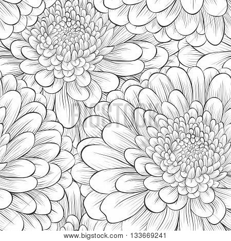 Beautiful seamless background with monochrome black and white flowers.Hand-drawn contour lines and strokes. Perfect background greeting cards and invitations to the day wedding birthday Valentine's Day