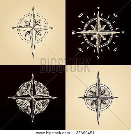 Hand drawn compass set wind rose symbol. traveller tool. Vintage illustration. Raster copy