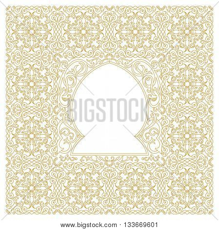 Eastern gold frame, mosque, arch. Template design elements in oriental style. Floral Frame for cards and postcards Eid al-Adha. Muslim invitations and decor for brochure, flyer, poster. Raster copy