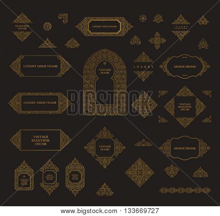 Arabic set of frames and lines design template. Muslim gold outline elements and emblems. Eastern floral frame. Logos line pattern for menu, mosque, arch, restaurant, wedding invitation. Raster copy