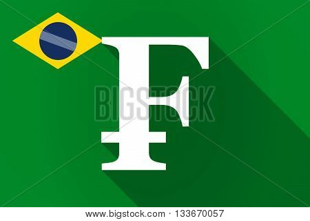 Long Shadow Brazil Flag With A Swiss Franc Sign