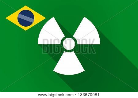 Long Shadow Brazil Flag With A Radio Activity Sign
