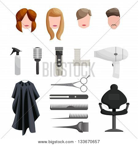 Hairdresser Icons set in cartoon style isolated on white background