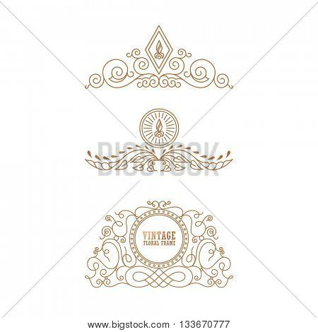 Calligraphic Luxury line logo template. Flourishes calligraphic elegant emblem. Royal design. Gold logo decor for menu card invitation label, Restaurant, Cafe, Hotel. Vintage line symbol. Raster copy