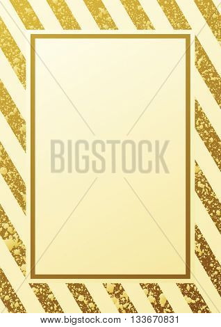 Gold glitter background. Border and gold frame. Seamless lines pattern white background. Gold diagonal lines pattern. Gold background. Gold frame. Raster copy design