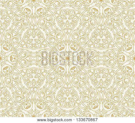 Seamless background in Arabic style. Gold, black, blue wallpaper with patterns for design. Traditional oriental decor. Raster copy