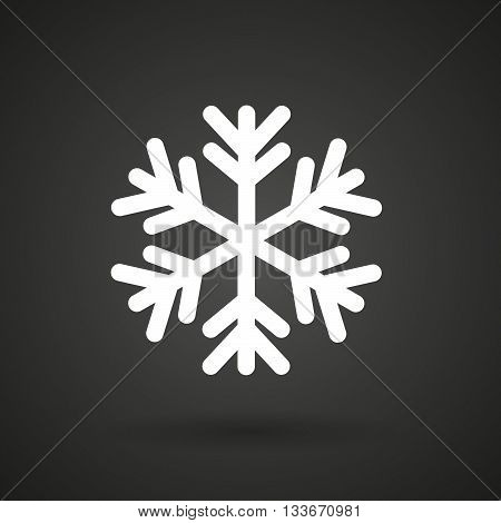 A Snow Flake    White Icon On A Dark  Background