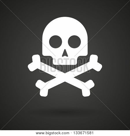 A Skull    White Icon On A Dark  Background