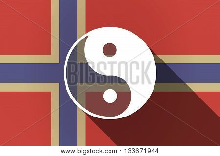 Long Shadow Norway Flag With A Ying Yang