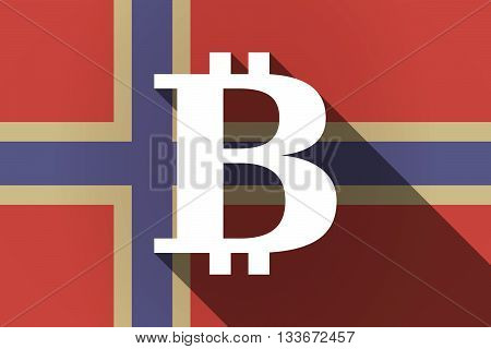 Long Shadow Norway Flag With A Bit Coin Sign
