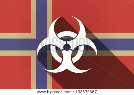 Long Shadow Norway Flag With A Biohazard Sign