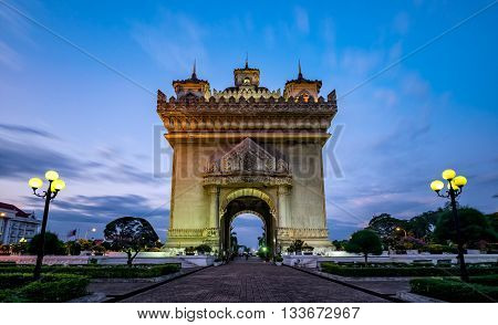 Patuxay monument is dedicated to the deads during the Independance war from France, shot during the blue hour in Vientiane, the capital city of Laos.