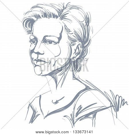 Vector portrait of attractive woman illustration of good-looking serious female. Person emotional face expression.