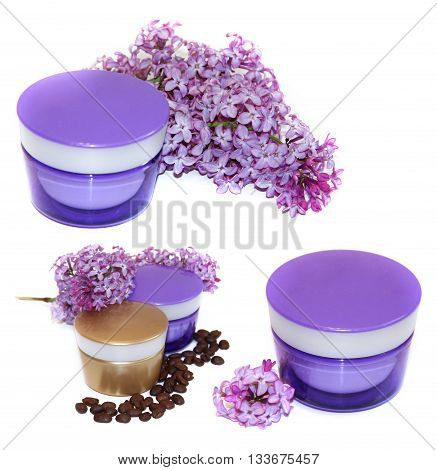 jar natural cream sprig fresh bloom white and purple lilac perspective fresh delicate flowers and petals roasted coffee beans for cosmetic concept set isolated on scrapbook background. Feminine beauty