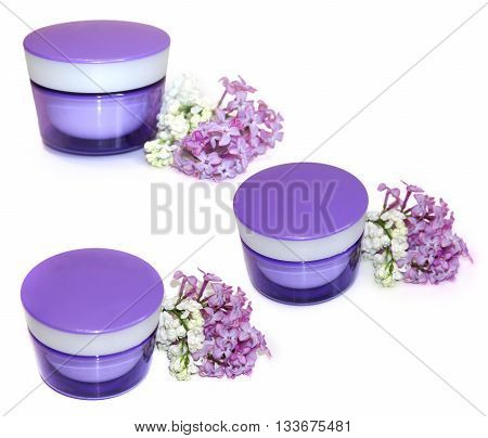 jar natural cream sprig fresh bloom white and purple lilac perspective fresh delicate flowers and petals for cosmetic set isolated on scrapbook background. Feminine beauty cosmetic concept