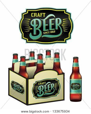 An illustration for craft beer including a 6 pack beer bottles and beer label. Vector EPS 10 available.