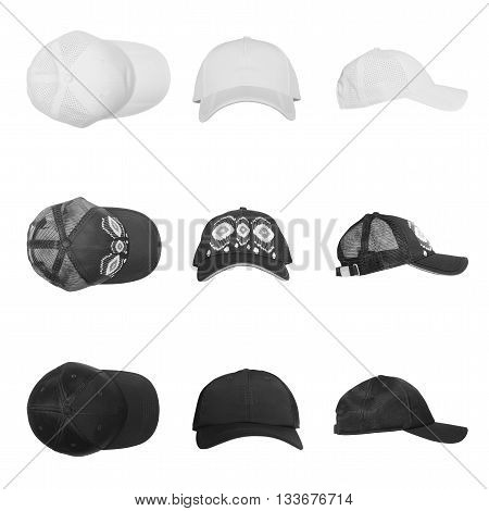 set of caps for man and woman isolated on white