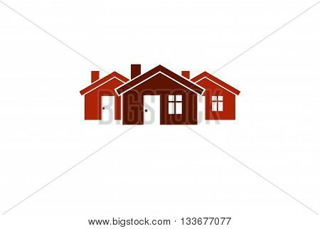 Abstract simple red country houses vector illustration