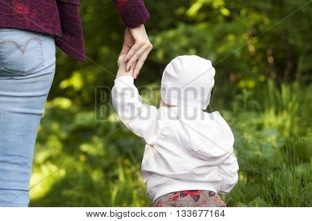 mother holds the child's hand on a walk in the summer