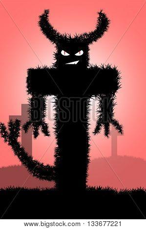art devil cartoon on red illustration background