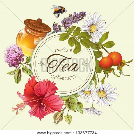 Herbal tea vintage banner with honey, rose hip and hibiscus flower.