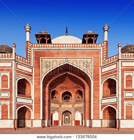 Humayuns Tomb on the blue sky Delhi India