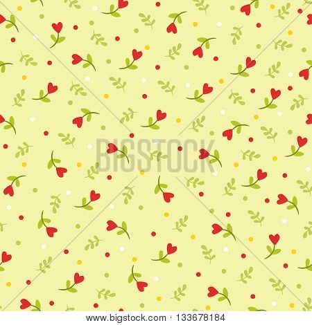 Vector illustration of flowers and leaves. Seamless pattern with flowers and leaves.