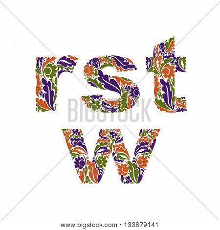 Vector Letters Decorated With Seasonal Autumn Leaves, R, S, T, W. Vintage Ornamental Typescript.
