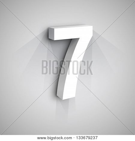 3d Number Seven. White figure 7 on Gray Background