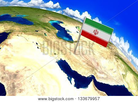Flag marker over country of Iran on world map 3D rendering, parts of this image furnished by NASA