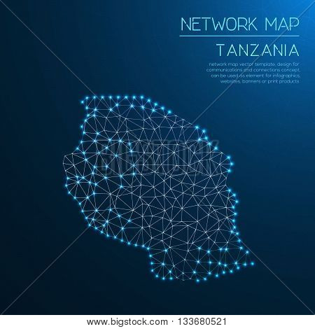 Tanzania, United Republic Of Network Map. Abstract Polygonal Map Design. Internet Connections Vector