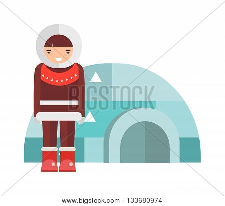 Igloo ice house eskimo on isolated and Eskimo girl and house vector illustration. Eskimo house pole, arctic landscape and eskimo house season igloo architecture. Building freezing scene icehouse.