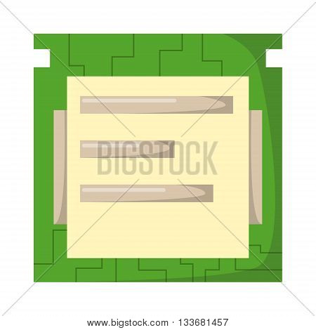 Electronics industry board computer concept: digital circuit board computer with microchips over schematic diagram isolated on white background. Vector board computer processor motherboard.