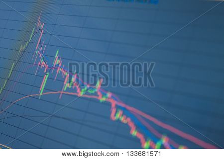 Stock market graph on a computerin blue style