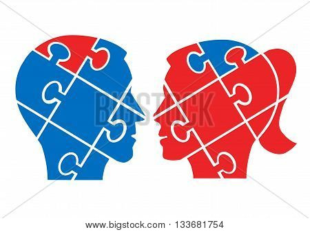 Two Puzzle heads silhouettes symbolizing understanding between man and woman. Vector available.