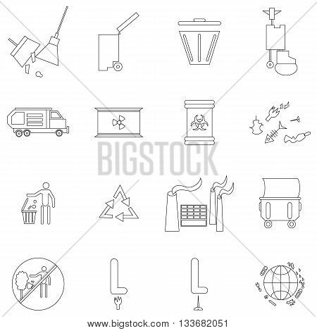 Ecology icons set in outline style isolated on white background
