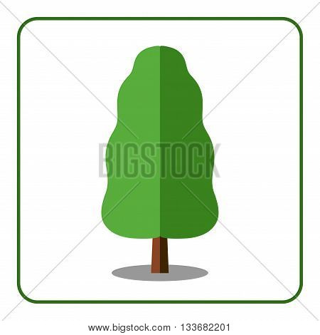 Oak or poplar tree icon. Flat design sign. Trendy beautiful floral element isolated on white background. Green silhouette deciduous tree. Symbol nature forest. Sprites for game. Vector illustration
