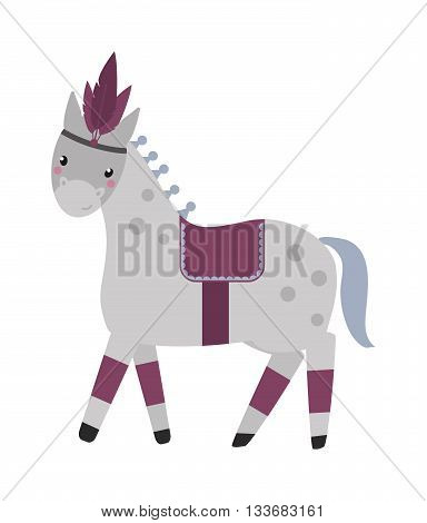 Vector illustration of little grey circus horse and circus horse isolated on white. Grey carnival circus horse and equine performance foal circus horse. Beautiful carousel amusement farm animal.