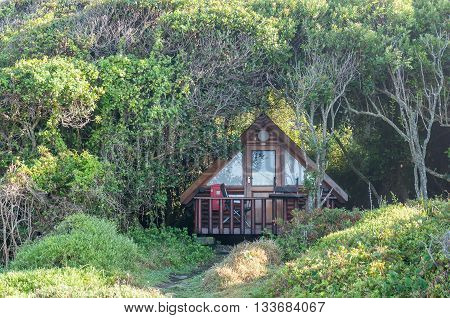 STORMS RIVER MOUTH SOUTH AFRICA - FEBRUARY 29 2016: A shaded forest cabin at the rest camp at Storms River Mouth
