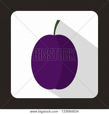 Blue plum icon in flat style on a white background