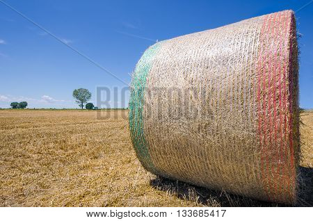 Wheat bale with Italian flag in the middle of summer camps